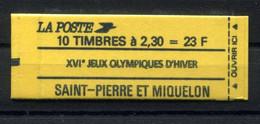 RC 19896 ST PIERRE ET MIQUELON COTE 11€ N° C518 CARNET MARIANNE DE BRIAT XVIe JEUX OLYMPIQUES D'HIVER NEUF ** MNH TB - Carnets