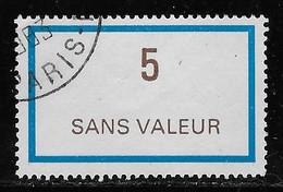 TIMBRES FICTIFS EMISSION DE 1978 N° F217 5 BLEU CLAIR ET BRUN FONCE OBLITERE TRES RARE TB - Ficticios