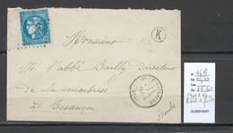 France - Lettre   Yvert 46 B  - GRAND BORD DE FEUILLE - Pont De Roide -Doubs - 1870 Emissione Di Bordeaux
