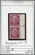 Deutsches Reich - Deutschland - Allemagne - Michel 520 Paar Mit 3 Im Rand / Avec 3 Sur Borde  - ** Mnh Neuf Postfris - Unused Stamps