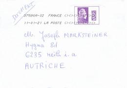 Auslands - Brief Von 57420 Coin Les Cuvry Mit Marke Violett International 2021 - 2018-... Marianne L'Engagée