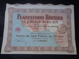 AFRIQUE, CÔTE D'IVOIRE - ABIDJAN 1927 - PLANTATIONS REUNIS DE L'OUEST AFRICAINS - ACTION DE 100 FRS - Unclassified