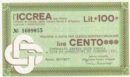 MINIASSEGNO L' ICCREA CONSORZIO ARREDO CLUB EUROPA CLUB DI ARREDATORI DI CASCINA - [10] Cheques Y Mini-cheques
