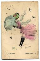 Carte Ancienne - Femme Par Xavier SAGER - Le Vent Souffle - Sager, Xavier