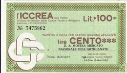 MINIASSEGNO L' ICCREA E.A. MOSTRA MERCATO NAZIONALE DELL' ARTIGIANATO - [10] Cheques Y Mini-cheques