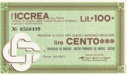 MINIASSEGNO L' ICCREA COOPERATIVA FRA MOBILIERI MOSTRA PERMANENTE CASCINA - [10] Cheques Y Mini-cheques