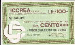 MINIASSEGNO L' ICCREA FEDERAZIONE TOSCANA DELLE CASSE RURALI ED ARTIGIANE - [10] Cheques Y Mini-cheques