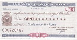 MINIASSEGNO IL BANCO DI SANTO SPIRITO CONFESERCENTI ROMA - [10] Cheques Y Mini-cheques