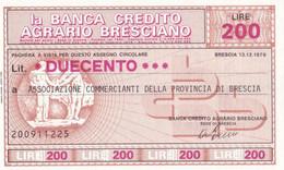 MINIASSEGNO LA BANCA CREDITO AGRARIO BRESCIANO ASSOCIAZIONE COMMERCIANTI DELLA PROVINCIA DI BRESCIA - [10] Cheques Y Mini-cheques