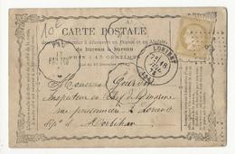 Carte Postale De 1873, Affranchie Avec N°55, De Pau à Lorient - 1849-1876: Classic Period