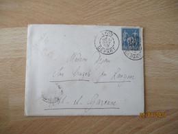 Daguin Double Lumele Lyon Depart Lettre Timbre Sage - 1877-1920: Semi-moderne Periode