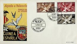 1958 Guinea Española FDC Ayuda A Valencia - Guinea Spagnola