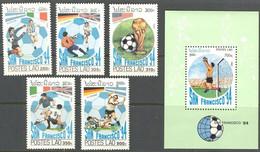 Football Soccer Laos #1306/10 + Bl 143 1994 World Cup USA MNH ** - 1994 – Verenigde Staten