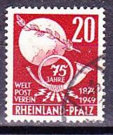 Franz. Zone - Rheinland-Pfalz 75 Jahre UPU (MiNr: 51) 1949 - Gest Used Obl - French Zone