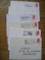 6 Flammes, Cher 1987-90 (5 Noir, 1 Rouge) - Mechanical Postmarks (Advertisement)