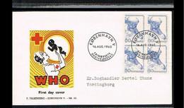 1960 - Europe Sympathy FDC Denmark Mi.385 (4-block) - Issue Falkenberg - Cancel København [VX119] - 1960