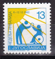 Yugoslavia Serbia 1992 Week Of Disabled Persons Disability Medicine Health Sun Charity Surcharge Tax MNH - Behinderungen