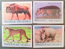 Fauna Africana, Elefante, Leopardo, Rinoceronte, Bisonte Set 4v. Mnh Angola 1999 - Elefanten