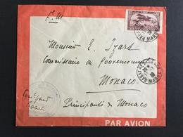 """COLONIES FRA MAROC 11/07/1928 Lettre De Rabat Pour Monaco """"direction Des Affaires Indigènes"""" PA6 LA3 - Luftpost"""