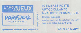 France Booklet 2012 Paris2012 Ville Candidate L'Amour Des Jeux - 10 Stamps For Covers Up To 20 Gr - MNH/** (H35) - Estate 2012: London