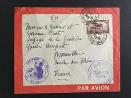 """COLONIES FRA MAROC 18/04/1930 Lettre De Casablanca Pour Marseille """"Troupes D'occupation Du Maroc Occidental"""" PA6 LA3 - Luftpost"""