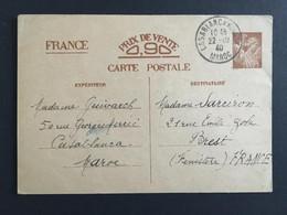 COLONIES FRA MAROC 22/10/1940 Carte Interzone De Casablanca à Brest LA3 - Storia Postale