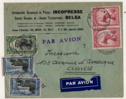 CONGO BELGE MULIPLES OBLITERES SUR LETTRE PAR AVION DE JADOTVILLE A ANVERS - Cartas