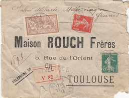 LETTRE CHARGEE TYPE MERSON DU 27 AOUT 1913 - Ohne Zuordnung