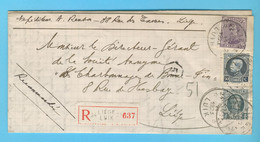 RECOMMANDE  N° 135 -193 -211 (?) RELAIS 24  LIEGE 12-VI-1923 - Cartas