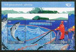 Denmark Faroe Islands Färöer Mi# Block 26 Postfrisch/MNH - Fauna Fish, Aqua Culture - Faeroër