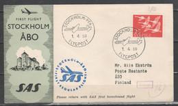 Svezia 1959 - Primo Volo Stockholm-Abo             (g7212) - Briefe U. Dokumente