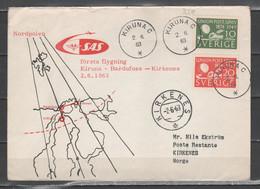 Svezia 1963 - Primo Volo Kiruna-Bardufoss-Kirkenes               (g7217) - Briefe U. Dokumente