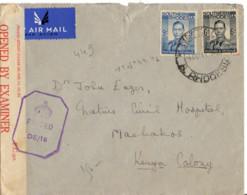 RHODESIE DU SUD YT N°44 ET 46 SUR LETTRE POUR MACHAKOS KENYA CENSURE - Rhodesia Del Sud (...-1964)