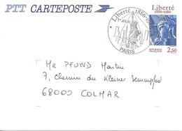 N° 2421 ENTIER POSTAL - 1ER JOUR - LIBERTE 1986 - PARIS -  CIRCULEE - 1980-1989