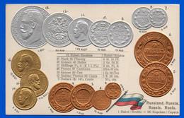 CPA Monnaies - Carte Gauffrée Pavillon National Monnayage International - Russiand Russia Russie Rusia - Coins (pictures)
