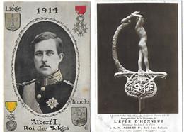 Bataille De Liège (Belgique)  Août 1914 Le Roi Albert  (2 Cartes) - Guerra 1914-18
