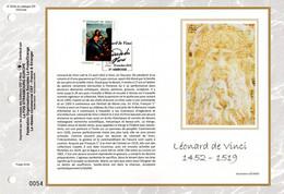 """2019 : """" LEONARD DE VINCI """" Sur Feuillet CEF 1er Jour Sur Soie. N° YT  . Parfait état FDC - Unclassified"""