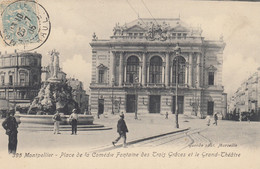 34 - Montpellier - Place De La Comédie Animée - Le Grand Théâtre - Fontaine Des Trois-Grâces - Montpellier