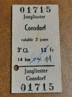 Luxembourg, Ligne Junglinster Consdorf 1959 - Europa