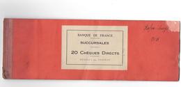 CARNET DE CHEQUES DE LA BANQUE DE FRANCE VALENCIENNES 1938 - Cheques & Traverler's Cheques