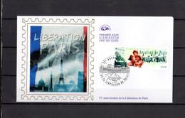 """2019 : """" 75 ANS DE LA LIBERATION DE PARIS """" Sur Enveloppe 1er Jour Sur Soie. N° YT  . Parfait état FDC - WW2"""