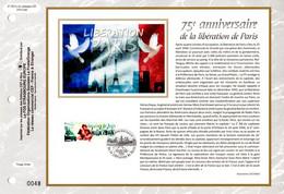 """2019 : """" 75 ANS DE LA LIBERATION DE PARIS """" Sur Feuillet 1er Jour Sur Soie. N° YT  . Parfait état FDC - WW2"""