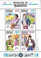 Burundi 1994 Rock Stars Michael Jackson, Elvis Presley, Mick Jagger, John Lennon, MNH MINIATURE SHEET. - 1990-99: Mint/hinged