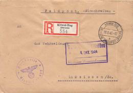 R-Brief  Deutsche Dienstpost Ukraine Kriwol-Rog - Meißen 1943 AKS - Officials
