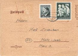 Mischfrankatur Auf Feldpost Beleg 1944 Wischau - Halle A.S. - Officials