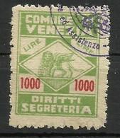 VENEZIA  1000 LIRE DIRITTI SEGRETERIA MARCA DA BOLLO COMUNALE, REVENUE MUNICIPAL STAMP. RIF 13 - Otros