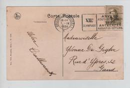 RE3187/TP 166 Albert Casqués /CP BXL Uccle Observatoire Royal De Belgique C. BXL 7/9/1920+Flamme VII° Olympiade > Gand - Cartas