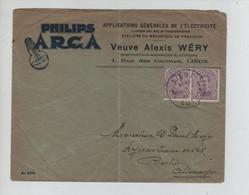 REF3189/ TP139 (2) S/L.Publicitaire Philips Arca (Lampe) Electricité Vve Alexis Wéry C.Liège 5/3/1922 > Allemagne - Cartas