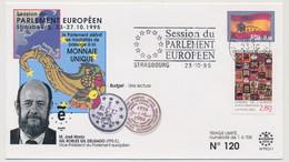 FRANCE => Env. 2,80 Conseil Europe - OMEC Session Parlement Europ. Strasbourg 23/10/1995 - Monnaie Unique - Gil Delgado - Covers & Documents