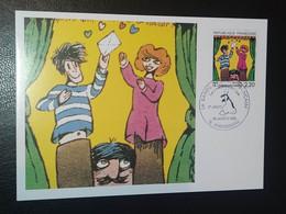 """CARTE """" LA COMMUNICATION """" 12 AUTEURS DE BD FRANÇAIS LAURÉAT GRAND PRIX FESTIVAL ANGOULÊME 1988 TIMBRE N° 2506 - 1980-1989"""